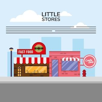 Fast food und süßigkeiten kleine geschäfte gebäude fassaden straßenszene vektor-illustration design