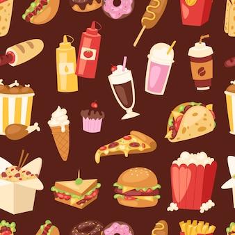 Fast food ungesunde cartoon burger sandwich, hamburger, pizza mahlzeit fastfood restaurant menü snack illustration.