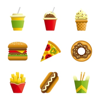 Fast-food-vektor-cartoon-icon-set