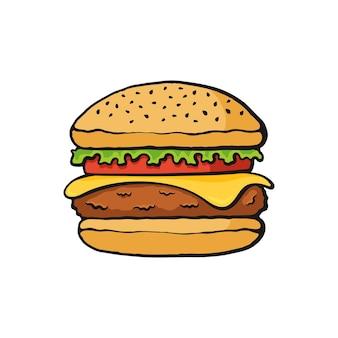 Fast-food-vektor-illustration hamburger mit käse big beef burger mit gemüse