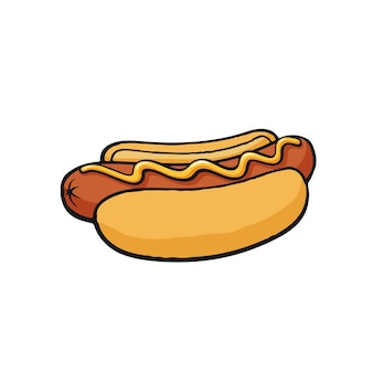 Fast-food-vektor-illustration hot dog mit senfwurst mit brotbrötchen