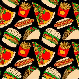 Fast-food-vektor illustration pizza burger hotdog französisch frites tacos nahtlose muster