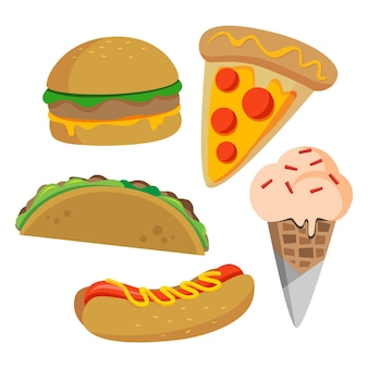 Fast-food-vektor-illustrationen eingestellt