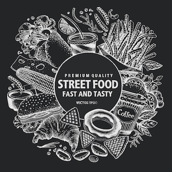 Fast-food-vektor-rahmen. street food banner designvorlage.