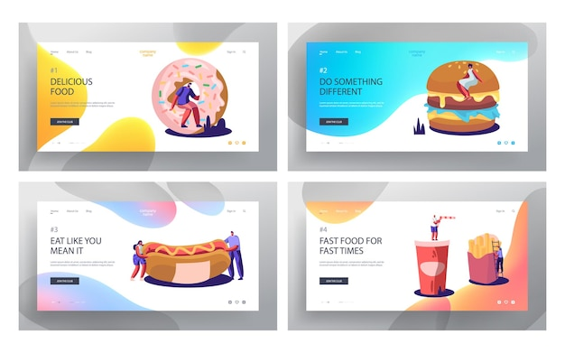 Fast food website landing page set.