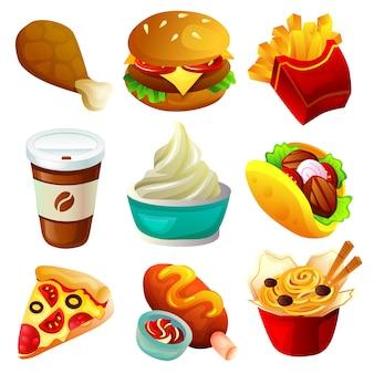 Fast food zum mitnehmen food icon set