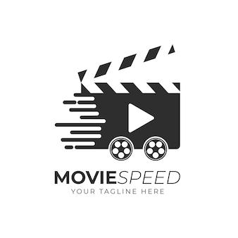 Fast movie logo, cinema logo design vorlage Premium Vektoren