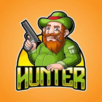 Fat hunter maskottchen logo illustration