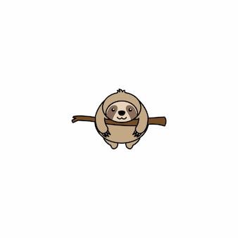 Fat sloth auf einer zweigkarikaturikone