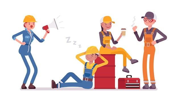 Faule arbeiter ruhen sich aus