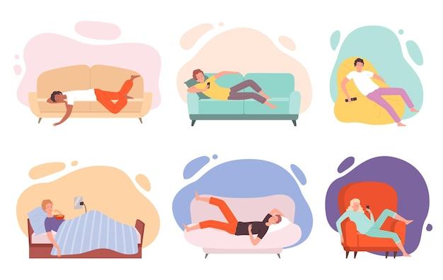 Faule charaktere. menschen auf couch oder sofa legen