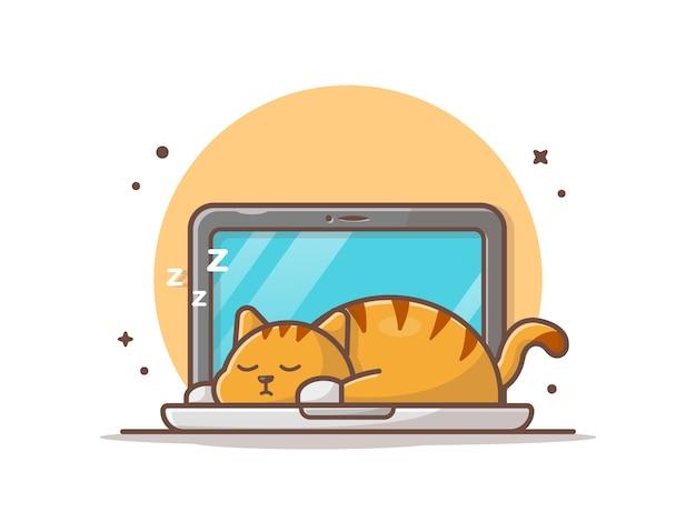 Faule katze, die auf laptop-illustration schläft