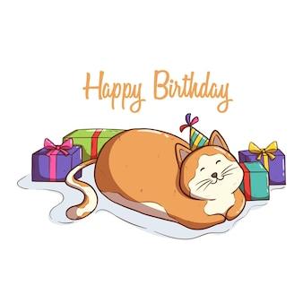Faule katze feiert geburtstag mit vielen geschenken