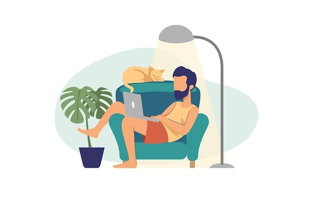 Faule mannillustration, die mit laptop zu hause arbeitet