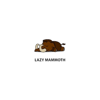 Faule schlafende ikone des mammuts