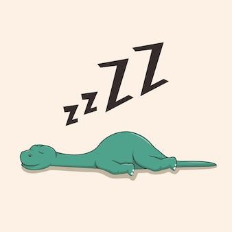 Fauler dinosaurier schlafen isoliert auf beige