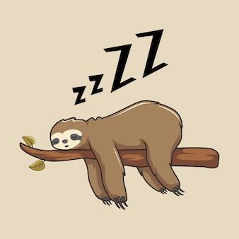Fauler faultier-cartoon, der langsame tiere schläft