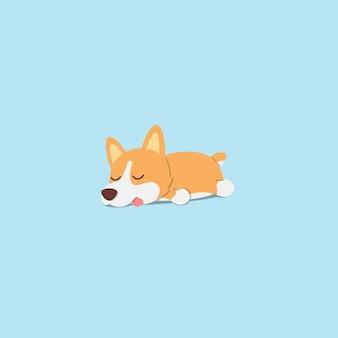 Fauler hundecorgiwelpe, der flaches ikonendesign schläft