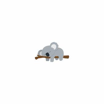 Fauler koala, der auf einem flachen design der niederlassung schläft
