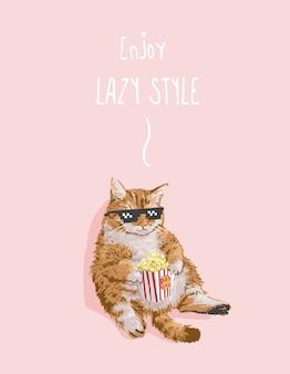 Fauler stil slogan mit fetter katze, die popcornillustration isst