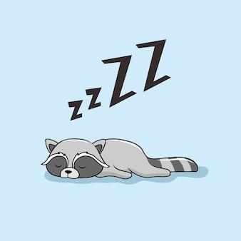 Fauler waschbär schlafender cartoon
