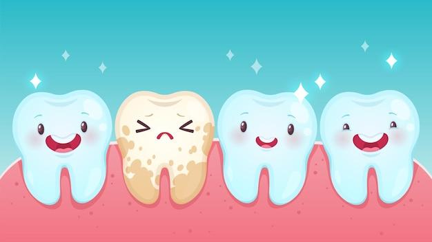 Fauler zahn. gesunde weiße glückliche zähne der netten karikatur und gelber verdorbener trauriger zahn mit lächelnden gesichtern. zahnschmerzen, kindermundpflege und hygiene kinderzahnklinik, vektorzahnkonzept