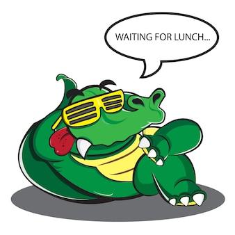 Faules krokodil entspannen sich und warten auf das mittagessen