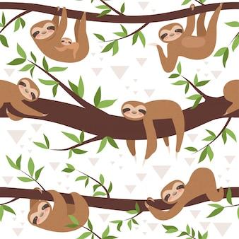 Faultier nahtloses muster. niedliche kleine schläfrige tierbaby-textilmusterfamilie hängen