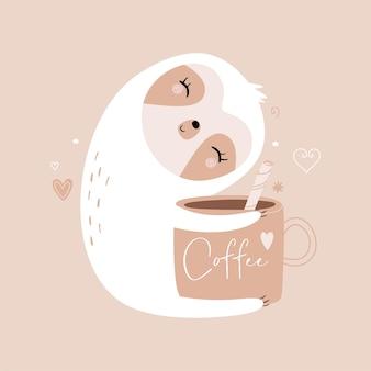 Faultier und kaffeetasse mit schriftzug. trendy flacher stil. pastellfarbene illustration.