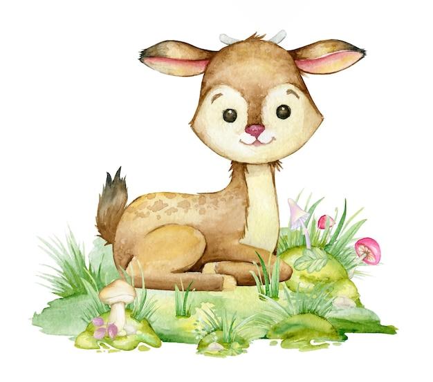 Fawn, hirsch sitzend auf einem weißen hintergrund. aquarellillustration im cartoon-stil für kindereinladungen und postkarten