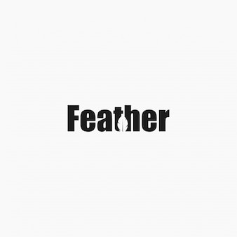 Feather wordmark logo bildet einen negativen federraum.