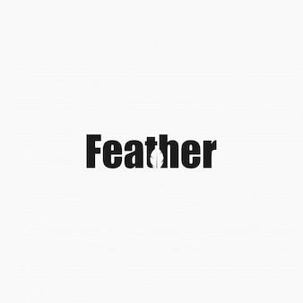 Feather wordmark logo bildet einen negativen federraum.