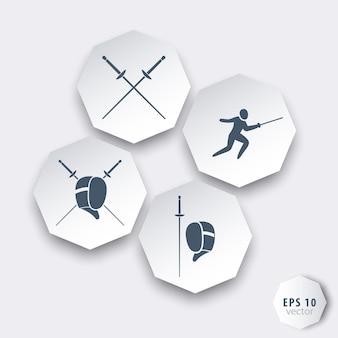 Fechten achteckige 3d-icons in grau-blau und weiß