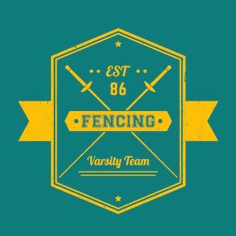 Fechten vintage emblem, logo, abzeichen, mit gekreuzten folien, vektorillustration