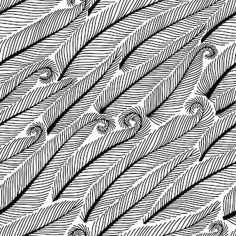 Feder nahtlose muster. handgezeichnete doodle federn. dekoratives design.