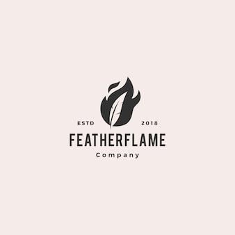 Feder stift feuer flamme logo hipster