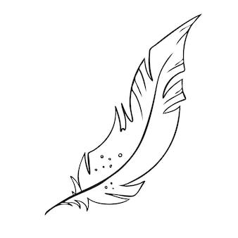 Feder von vögeln schwarz-weiße federsilhouette für logo-vektor-set