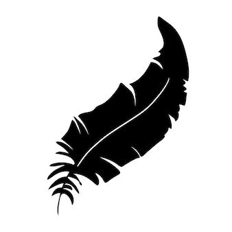 Feder von vögeln schwarze federsilhouette für logo-vektor-set