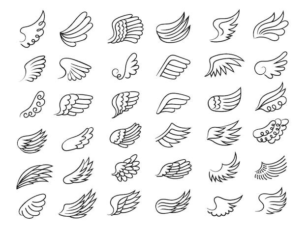 Federflügel. freiheitssymbole fliegen elemente dekorative flügel von vögeln oder engeln, die vektorsammlung zeichnen.