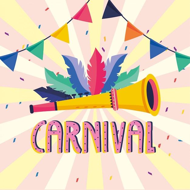 Federn mit trompete und party zum karneval