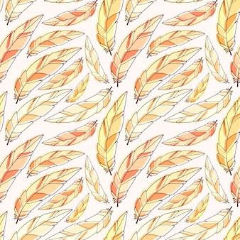 Federn nahtlose muster in gelben farben