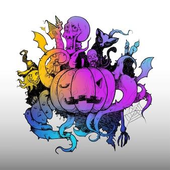 Federstrich halloween-kürbis