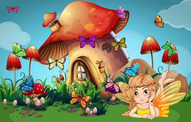 Fee und schmetterlinge im pilzhaus