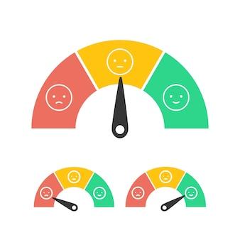 Feedback-konzept-design-emotionen-skala isoliert auf weiß benutzerreferenzen emoticon-vektor-illustration