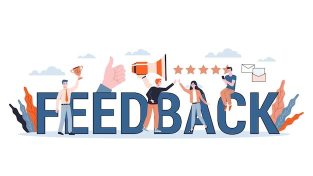 Feedback-konzept. idee einer kundenbewertung und -bewertung. hinterlasse einen kommentar und abonniere. produktevaluation. illustration