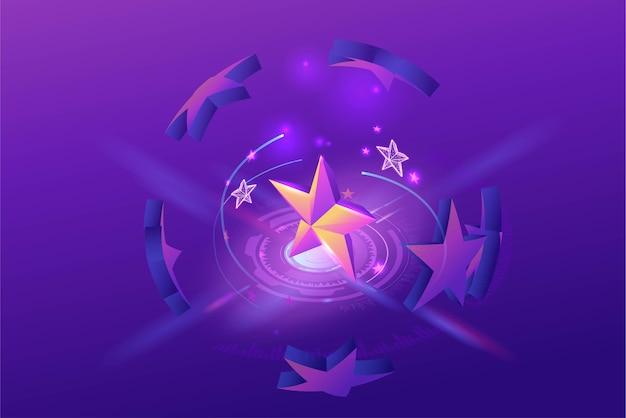 Feedback-konzept mit isometrischem sternsymbol 3d, kundenpreisprodukt, umfrage zur kundenzufriedenheit, überprüfung der servicequalität durch personen, lila