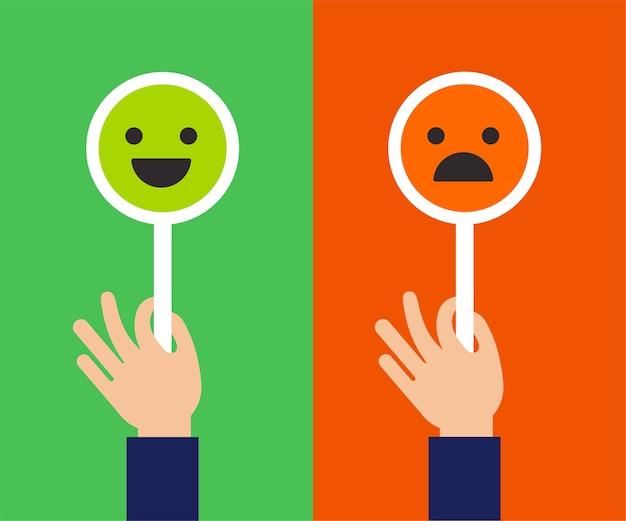 Feedback-konzeptdesign, emoticon, emoji und lächeln, emoticons skalieren