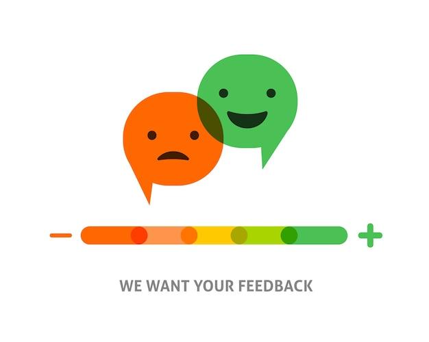 Feedback-konzeptdesign, emoticon, emoji und lächeln, emotionsskala