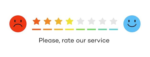 Feedback-skala bewertungssterne konzept zufriedenheit bewertungsebene überprüfung und bewertung des dienstes oder