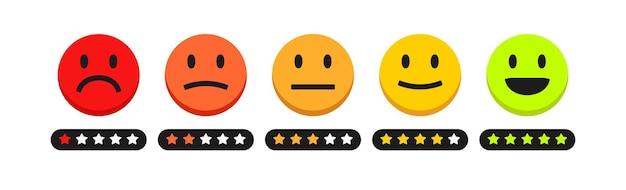 Feedback-skala sterne bewertungskonzept abbildung zufriedenheit bewertungsebene überprüfung und bewertung von